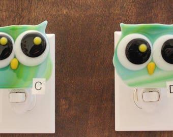 Fused Glass Owl Night Light Turquoise