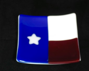 Fused Glass Texas Flag Plate,  Texas Falg Platter, Texas Serving Dish, 4 x 4