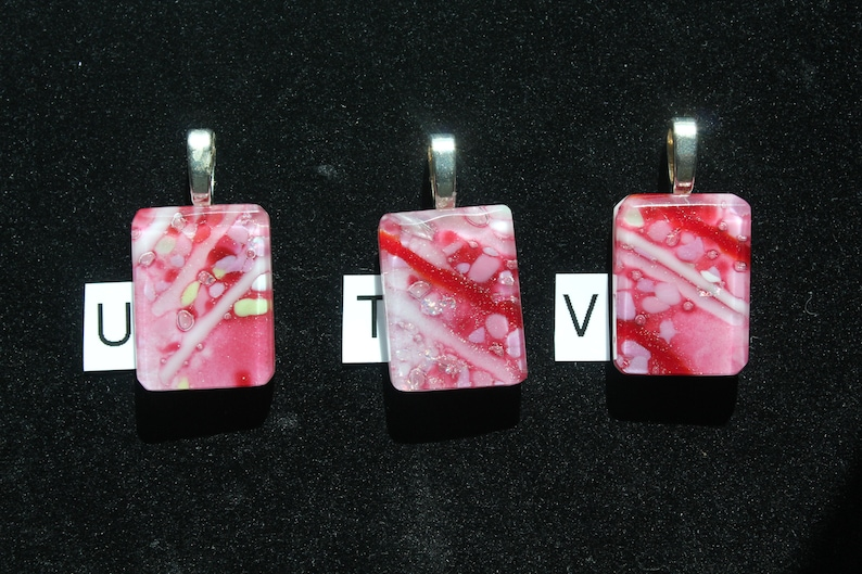 Glass Pendant Teachers Gift Stocking Stuffer Red and Pink Necklace Gift Fused Glass Pendant with Ball Chain Gift for Mom