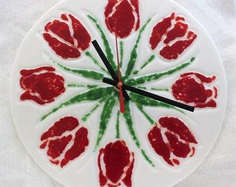 Fused Glass Tulip Clock, Red Flower Clock, Tulip Clock, Wall Clock, 10.25  inch Round Clock, Glass Clock, Red Tulip, Gift for Gardener