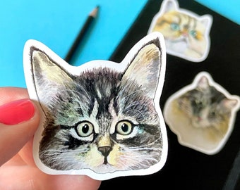 3 Watercolor Cat Face Stickers, Water-resistant Vinyl, Cute Animal Stickers, iPad Laptop Lunch Box Water Bottle Journal Car