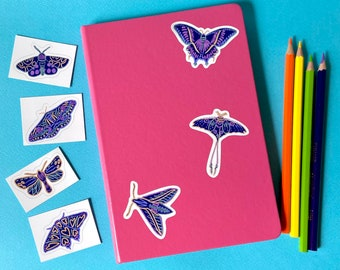 7 Purple Moth Stickers, Dusky Night Butterflies, Set of Water-resistant Removable Insect Vinyl Stickers