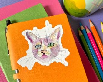 Pink Watercolor Cat Face Vinyl Sticker