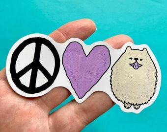 Peace Love Pomeranian Dog Vinyl Sticker