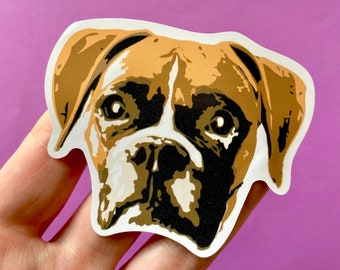 Boxer Dog Face Vinyl Sticker, Rescue Shelter Animal, Mixed Breed, Adopt Dont Shop, Brown Boxer Dog Lover Gift, I Love Boxers