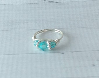 Elegant aqua crystal wire wrapped ring with Swarovski crystals for women