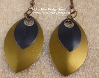 Bronze and Black Almond Shape Aluminium Dragon Scale Earrings with French hook ear wires