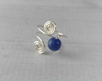 Lapis blue and silver adjustable ring with spiral design