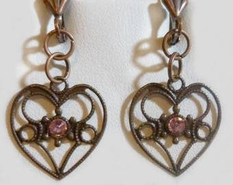 Romantic Vintage Heart with Pink Crystal Earrings with French hook ear wires