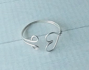 Silver wire heart adjustable ring