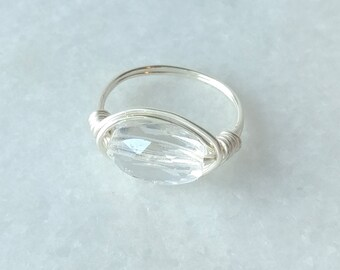 Beautiful crystal wire wrapped silver ring for women