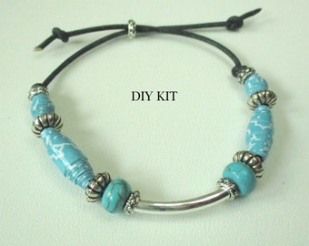 True Blue beaded bracelet DIY kit, an easy to make beaded bracelet for beginners ages 8 and up. For adults too.