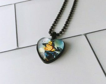 Little Witch heart pendant necklace for Halloween