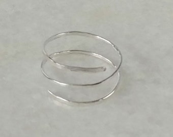 Hammered spiral silver adjustable ring, textured unisex, one size fits most