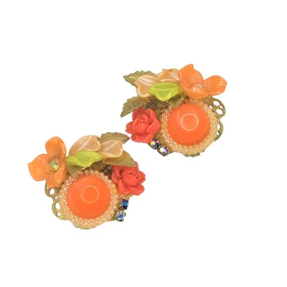 Vintage 50s 60s Clip On Earrings Flower Orange Gre