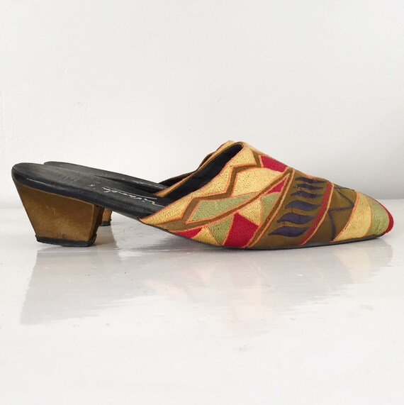 Vintage 1990s Vivid Embroidered Mules Slip On Sho… - image 1