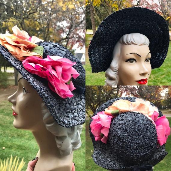 1940s Wide Brim Floral Hat