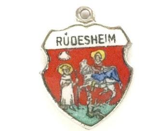 Schmuck & Accessoires Antikschmuck Silber RÜdesheim Bettelarmband Anhänger Wappen Silver Pendant Travel Shield Hell In Farbe