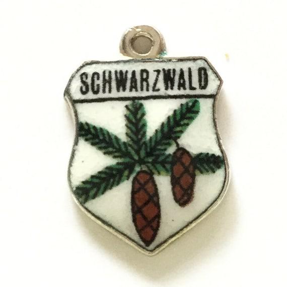 Schwarzwald Germany - Vintage Enamel Souvenir Travel Shield Bracelet Charm - 800 Silver