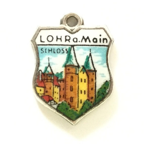 image 0 image 1 image 2 image 3 ????zoom Lohr a Mein Germany Castle - Vintage Enamel Souvenir Travel Shield Bracelet Charm - 800 Silver