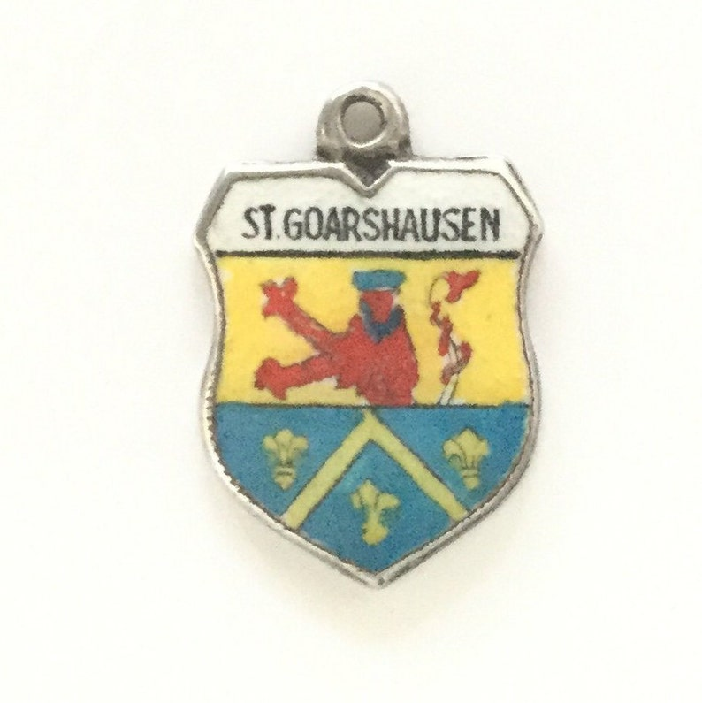 Vintage Enamel Souvenir Travel Shield Bracelet Charm St Goarshausen Germany 800 Silver