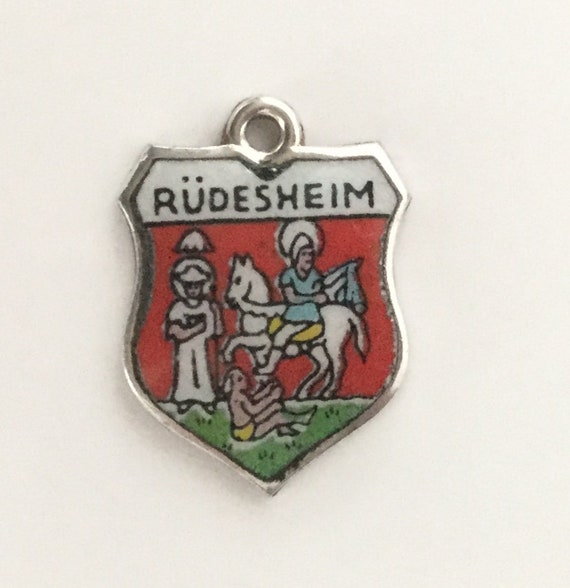 image 0 image 1 image 2 image 3 ????zoom Rüdesheim Germany - Vintage Enamel Souvenir Travel Shield Bracelet Charm - 800 Silver