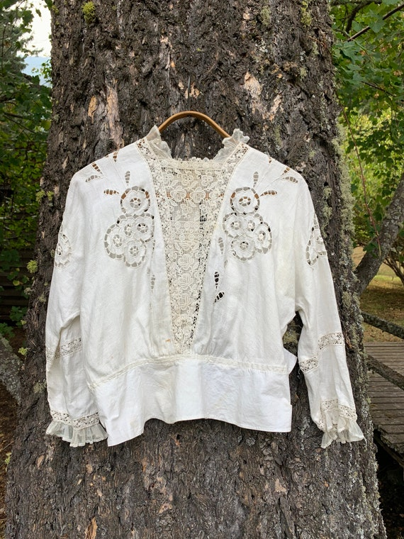 Vintage Late 1800's French Linen Victorian Blouse