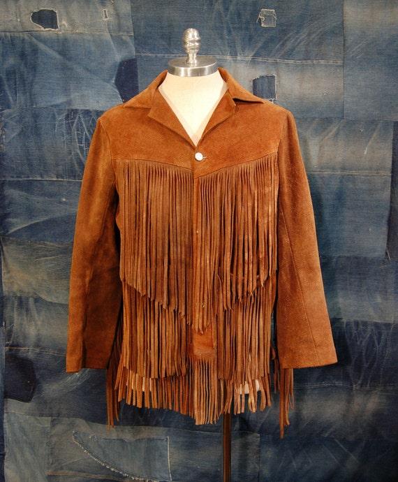 Vintage Western Fringe Suede Jacket