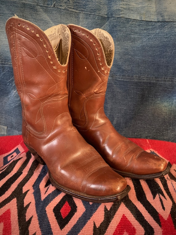 50s Cowboy Boots Square Toe Brown Mens 8 Western