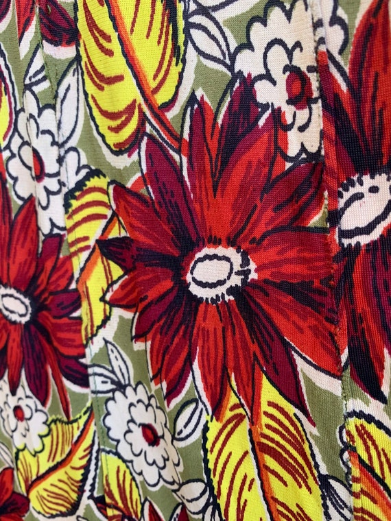 Very Rare Vintage 1940's Jersey Knit Rayon Floral… - image 9