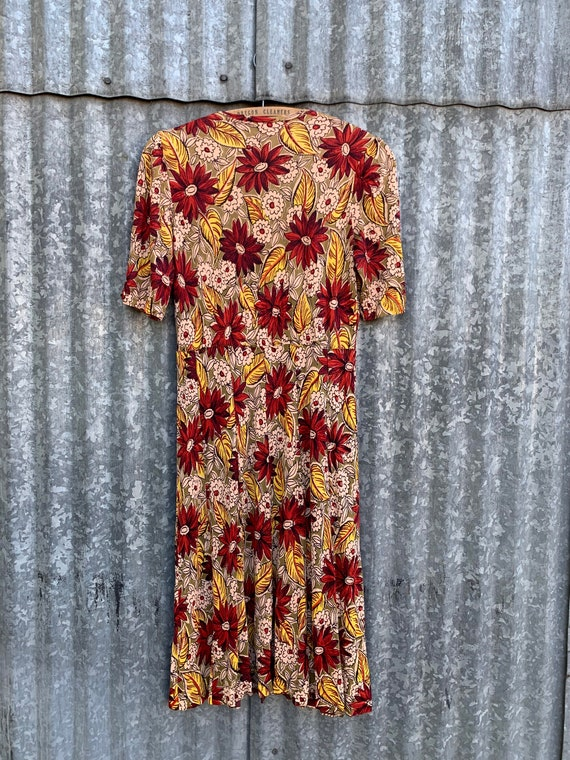 Very Rare Vintage 1940's Jersey Knit Rayon Floral… - image 10