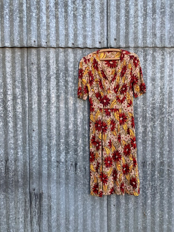 Very Rare Vintage 1940's Jersey Knit Rayon Floral