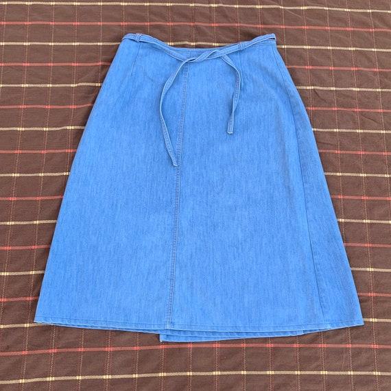 Vintage 1970's All-Cotton Denim 'SP 2' Wrap Skirt