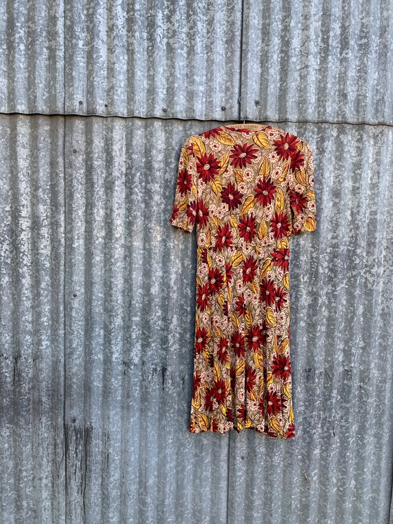 Very Rare Vintage 1940's Jersey Knit Rayon Floral… - image 7
