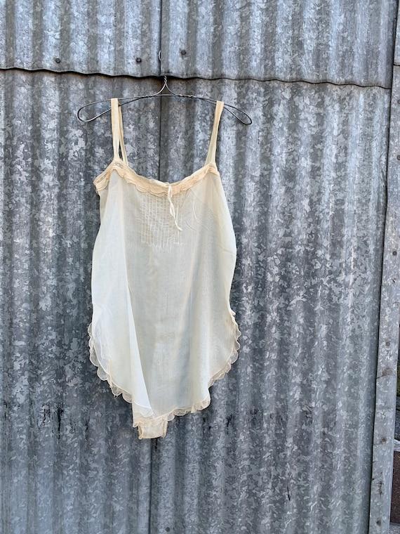 Vintage 1920's Step In Romper/ 20's Batiste Cotton