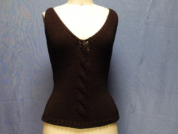 LUXURY KNIT TOP, Vintage 80s Top, V-Neck knit Top,