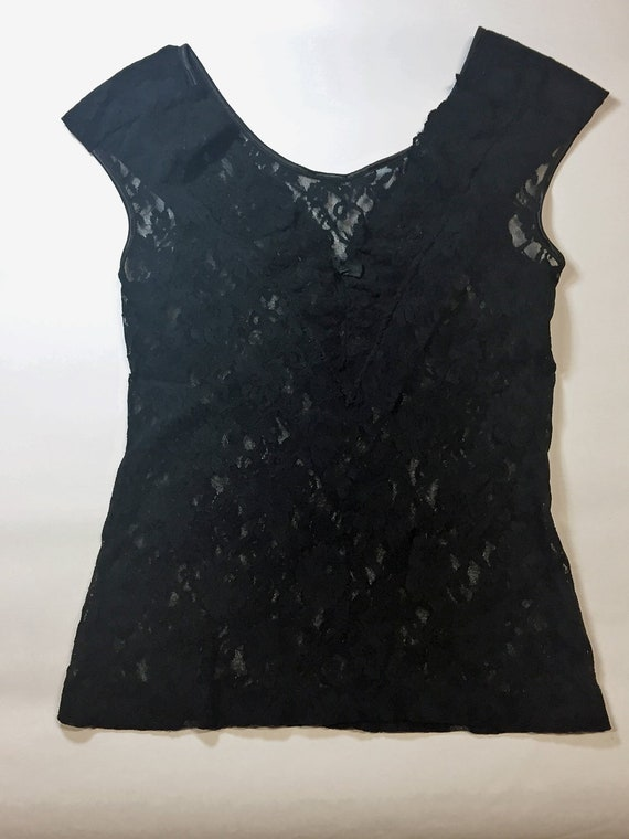 a240e346349a5 1980s BLACK LACE TOP v-neck lace top sleeveless lace top | Etsy