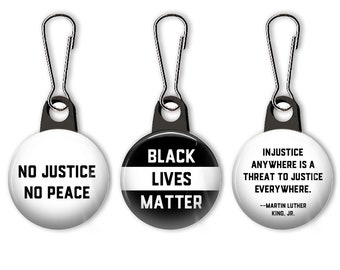 Black lives matter zipper pull. BLM charm.  No justice, no peace.  Philando Castile Relief Foundation.