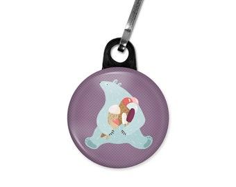 Polar bear zipper pull. Polar bear charm. Polar bear with ice creams. Ice cream zipper pull. Gift tag. Stocking stuffer. Gifts under 5.