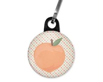 Peach zipper pull. Peach charm. Wedding favor charm. Custom zipper pulls available.
