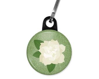 Gardenia zipper pull. Gardenia charm. Wedding favor charm. Flower zipper pull. Flower charm. Custom zipper pulls available.
