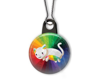 Rainbow kitty zipper pull.  Rainbow charm.  Zipper pull for your wallet, purse, backpack, jacket, or planner. Custom zipper pulls available.
