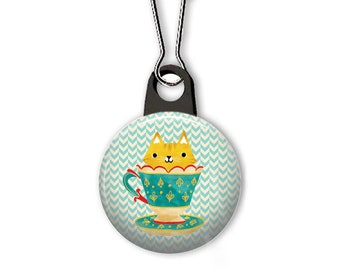 Teacup kitty zipper pull.  Teacup cat charm.  Cat zipper pull.  Gifts for cat lovers. Coffee cup cat charm. Custom zipper pulls available.