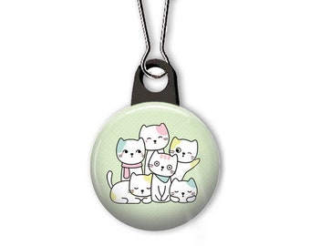 Cats zipper pull.  Pile of cats charm.  Zipper pull for your wallet, purse, backpack, jacket, or planner. Custom zipper pulls available.
