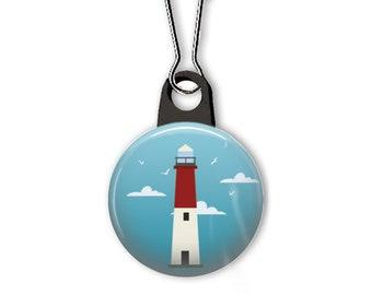 Lighthouse zipper pull. Lighthouse charm. Barnegat lighthouse zipper pull. Ocean charm. Beach charm. Custom zipper pulls available.