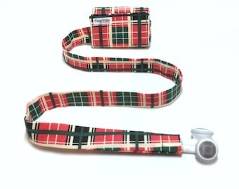 Plaid TuneTube.  Earbud cord organizer for iPhone or iPod.  Cord keeper.  Earbud holder.  Earbud case.
