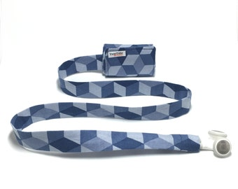 Blue cubes TuneTube.  Earbud cord organizer for iPhone or iPod.  Cord keeper.  Earbud holder.  Earbud case.