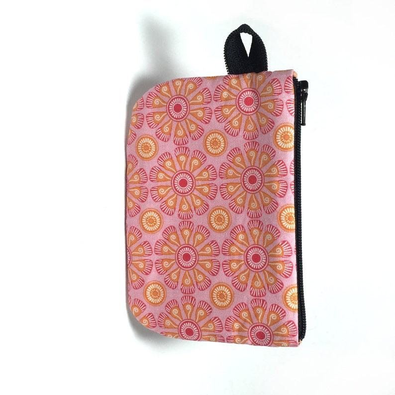 Zipper pouch Business card holder. Pink and orange floral zip pouch Card holder Gift card holder Small zip pouch Coin purse