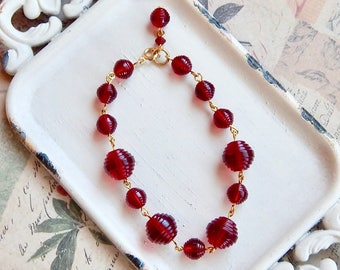Lola - red crystal bracelet - vintage Swarovski crystal - vintage crystal - Valentines Day Jewelry