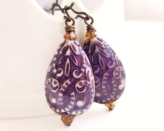Hazel -purple paisley drop earrings - color changing mood bead earrings - bohemian style earrings